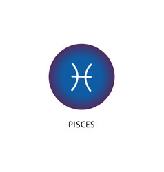 pisces star sign symbol inside blue circle icon vector image