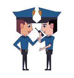 Policemen working avatar cartoon character blue vector
