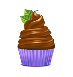 realistic detailed 3d cupcake with mint and vector image