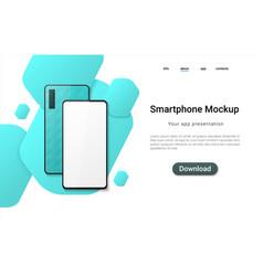 realistic smartphone landing mobile phone mockup vector image