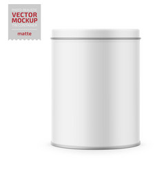 round matte tin can with lid mockup vector image