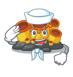 Sailor miniature orange sponge coral in character vector