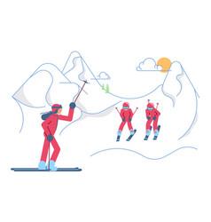 School skiers on winter mountain landscape vector
