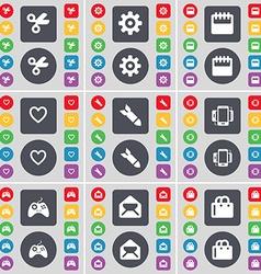 Scissors Gear Calendar Heart Rocket Smartphone vector image