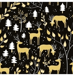 Seamless pattern with deer in winter forest vector