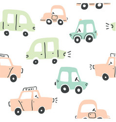 seamless pattern with hand drawn cute cars vector image