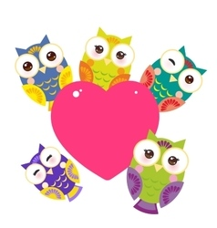 set bright colorful owls Card design with a funny vector image
