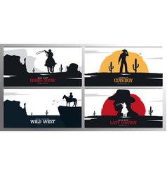 Set cowboy banners rodeo wild west banner vector