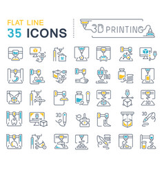 Set line icons 3d printing vector