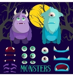 Set of cartoon monster characters Colorful vector
