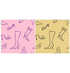 Shoes seamless pattern set vector