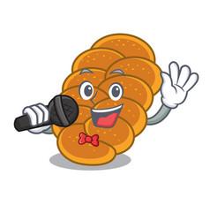 Singing challah mascot cartoon style vector