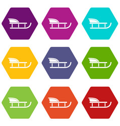 Sled icon set color hexahedron vector