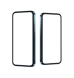 smartphones blue mockups with blank screens vector image