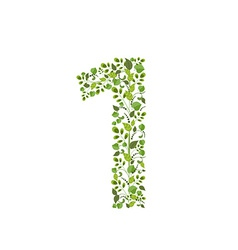 Spring green leaves eco number 1 vector image