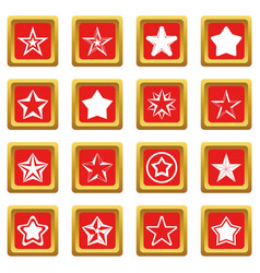 star icons set red vector image