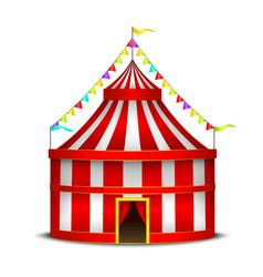 Striped circus tent symbol amusement festival or vector