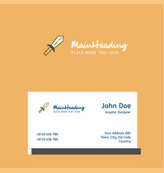 sword logo design with business card template vector image