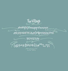 the village handwritten font textured vector image