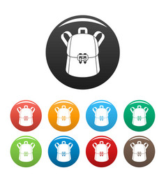 trendy backpack icons set color vector image