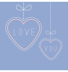 Two hanging hearts with bows Love greeting card vector image