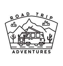 vintage road trip journey badge vector image
