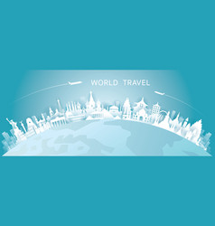 world skyline curve landmarks in paper cutting vector image