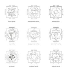 Yantra hinduism symbols vector