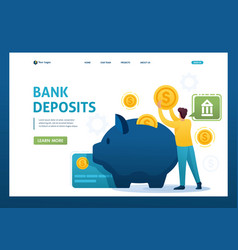 Young man puts money in a bank deposit investing vector