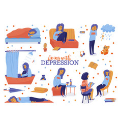 Young unhappy woman showing symptoms of depression vector