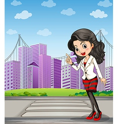 A lady with a black stockings standing at the vector image