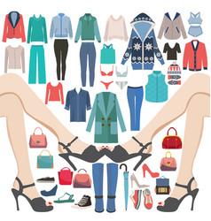 fashion collection of big sale and shopping vector image vector image