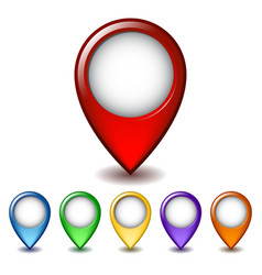 Set of bright map pointer icon vector image vector image