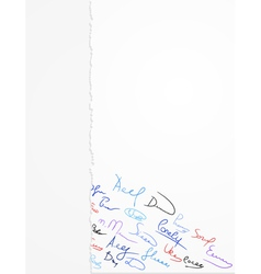 signatures on paper vector image vector image