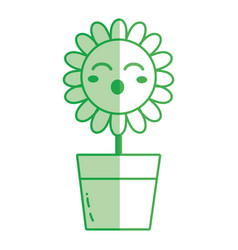 Silhouette kawaii beauty and funny flower plant vector