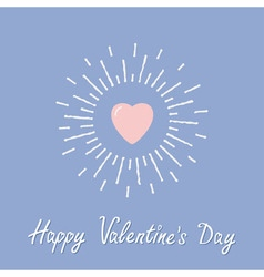 Big pink shining heart Happy Valentines day card vector image vector image