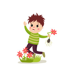 bully kid flat character jumping on green lawn and vector image