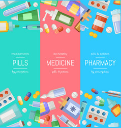 cartoon pharmacy or medicines vertical vector image vector image