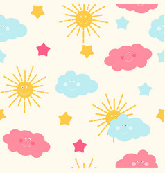 children s seamless pattern background with sun vector image