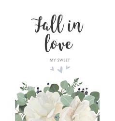 floral card design garden white powder peony vector image vector image