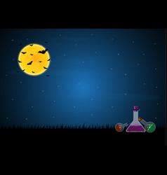 halloween poison bottle graveyard bat moon vector image vector image