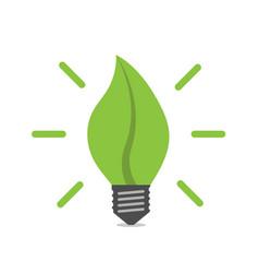 leaf shaped light bulb vector image