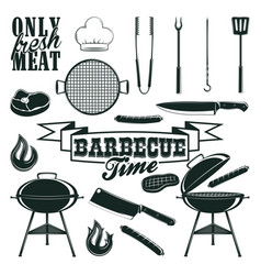 monochrome barbecue icons set vector image vector image
