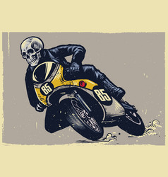skull riding classic motorcycle texture is easy vector image vector image