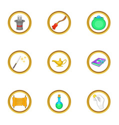 magician equipment icons set cartoon style vector image