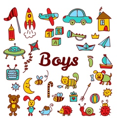 Boys design elements Cute hand drawn boys vector image vector image