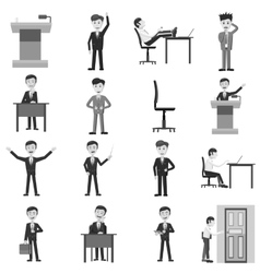 Businessman working action icons set vector image