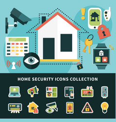 home security icons collection vector image vector image