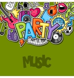 Music party kawaii background Musical instruments vector image vector image
