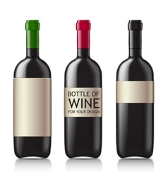 Patterns of black empty wine bottles vector image vector image
